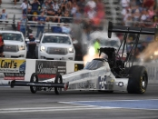 Scrappers Racing Top Fuel Dragster pilot Mike Salinas is the No. 1 qualifier at the AAA Insurance NHRA Midwest Nationals