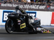 White Alligator Racing Pro Stock Motorcycle rider Karen Stoffer racing on Sunday at the AAA Insurance NHRA Midwest Nationals