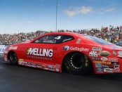 Melling Performance/Elite Performance Pro Stock rider Erica Enders racing on Sunday at the AAA Insurance NHRA Midwest Nationals