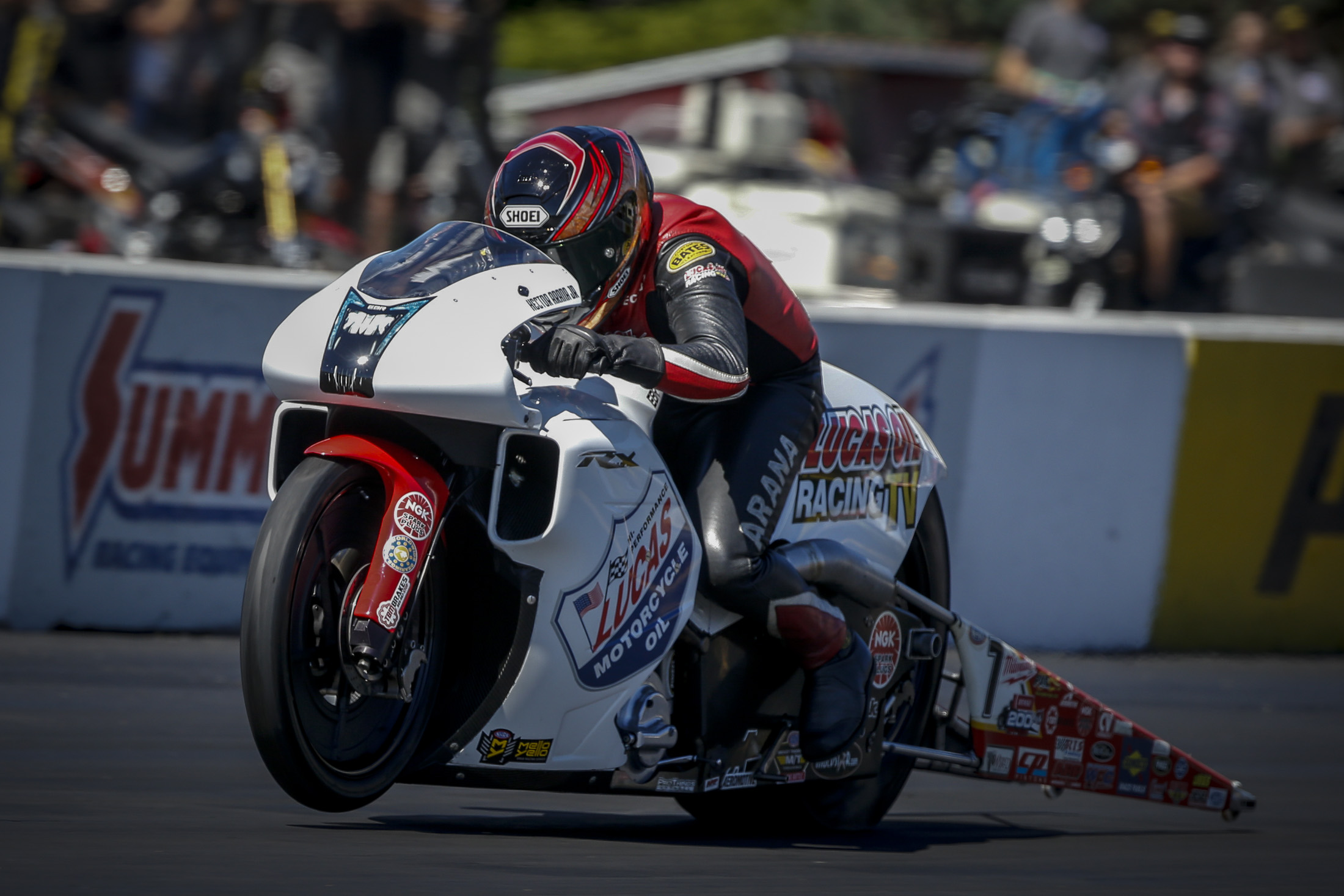 Lucas Oil Pro Stock Motorcycle rider Hector Arana Jr. racing on Sunday at the Dodge NHRA Nationals