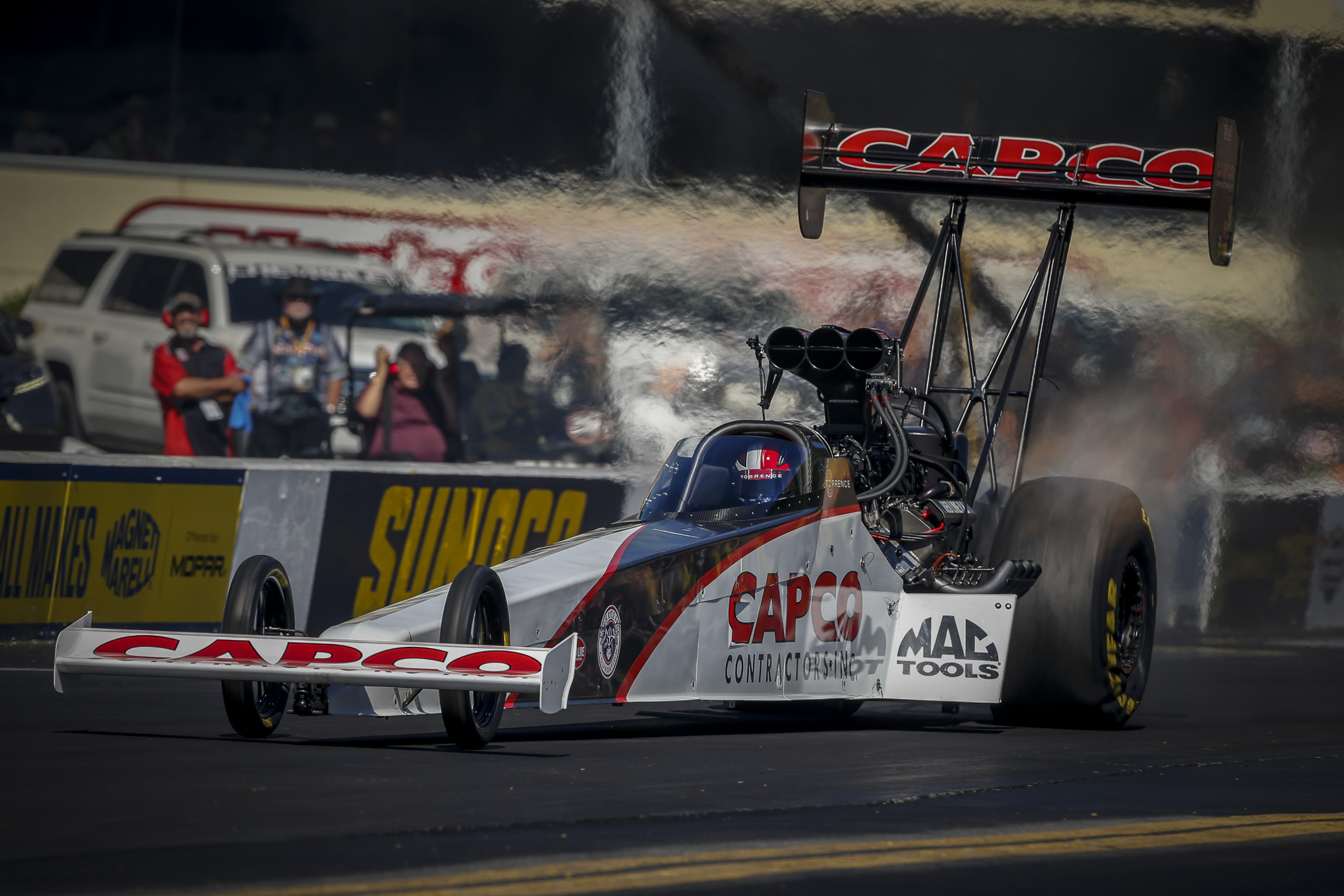 Top Fuel Dragster pilot Steve Torrence racing on Sunday at the Dodge NHRA Nationals