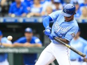 Kansas City Royals shortstop Adalberto Mondesí swings at the ball against the Cleveland Indians