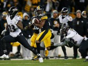 Former Pittsburgh Steelers wide receiver Antonio Brown runs down the field after a catch against the Baltimore Ravens