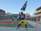 Former Pittsburgh Steelers wide receiver Antonio Brown celebrates after scoring a 43-yard touchdown reception against the Jacksonville Jaguars
