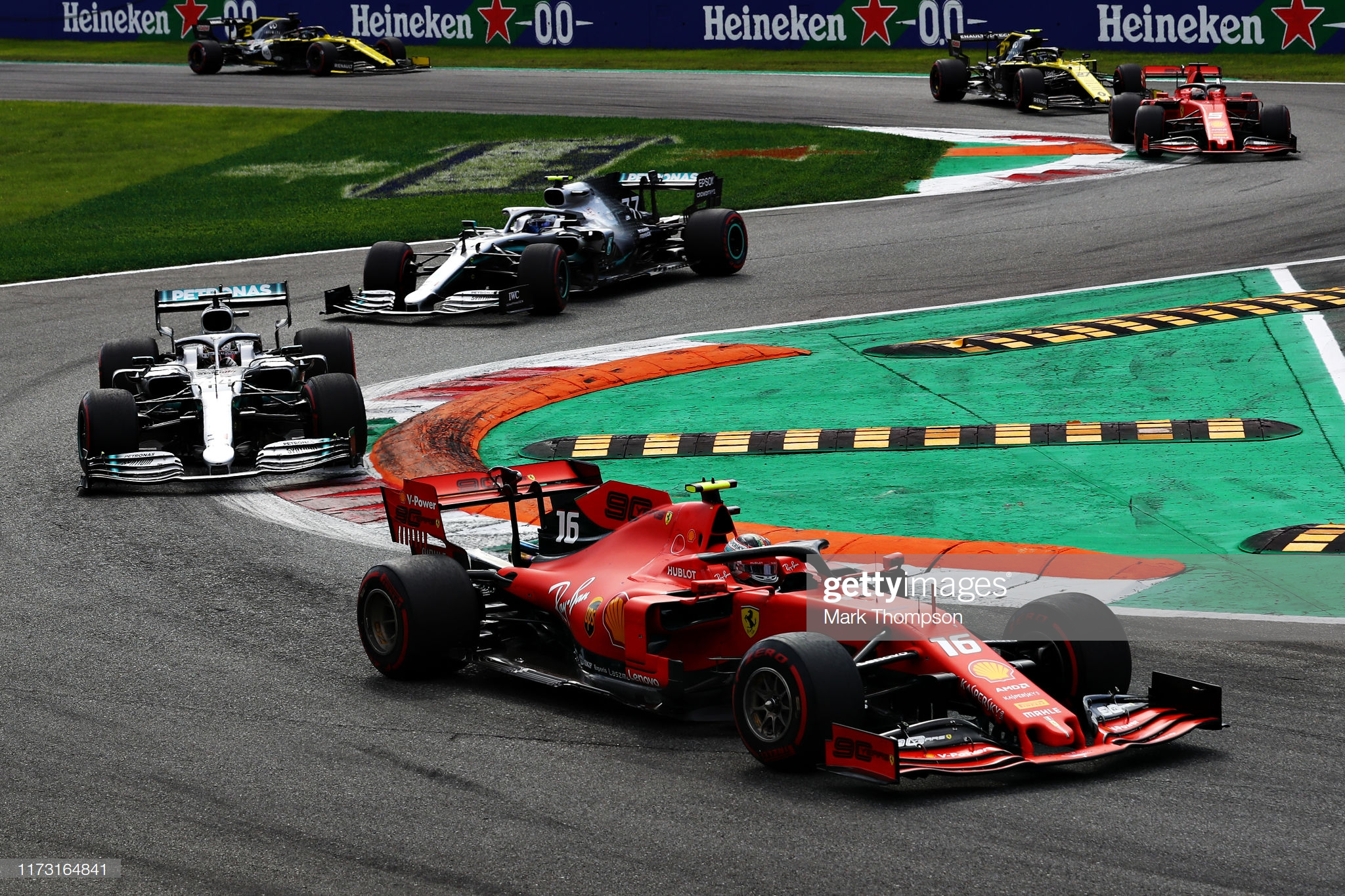Formula One driver Charles Leclerc leading Lewis Hamilton at the Grand Prix of Italy