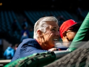 Former Boston Red Sox President of Baseball Operations Dave Dombrowski takes in the 2019 Opening Day batting practice before a contest with the Seattle Mariners