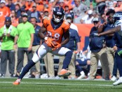 Former Denver Broncos wide receiver Demaryius Thomas makes a catch against the Seattle Seahawks