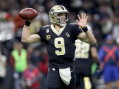 New Orleans Saints quarterback Drew Brees attempting a pass against the Los Angeles Rams in the 2019 NFL Championship game