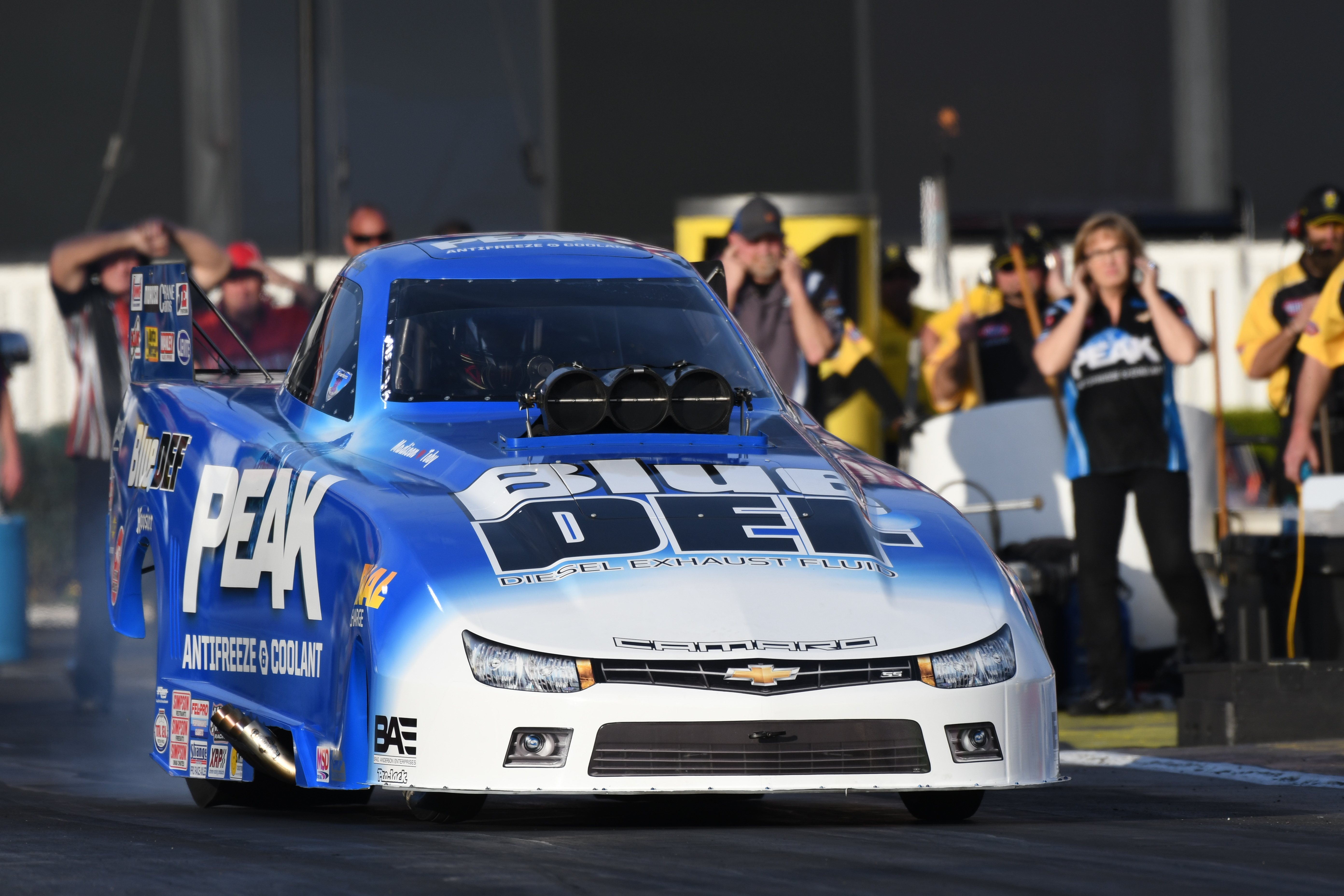 Driver Jay Payne competing in Top Alcohol Funny Car at a race