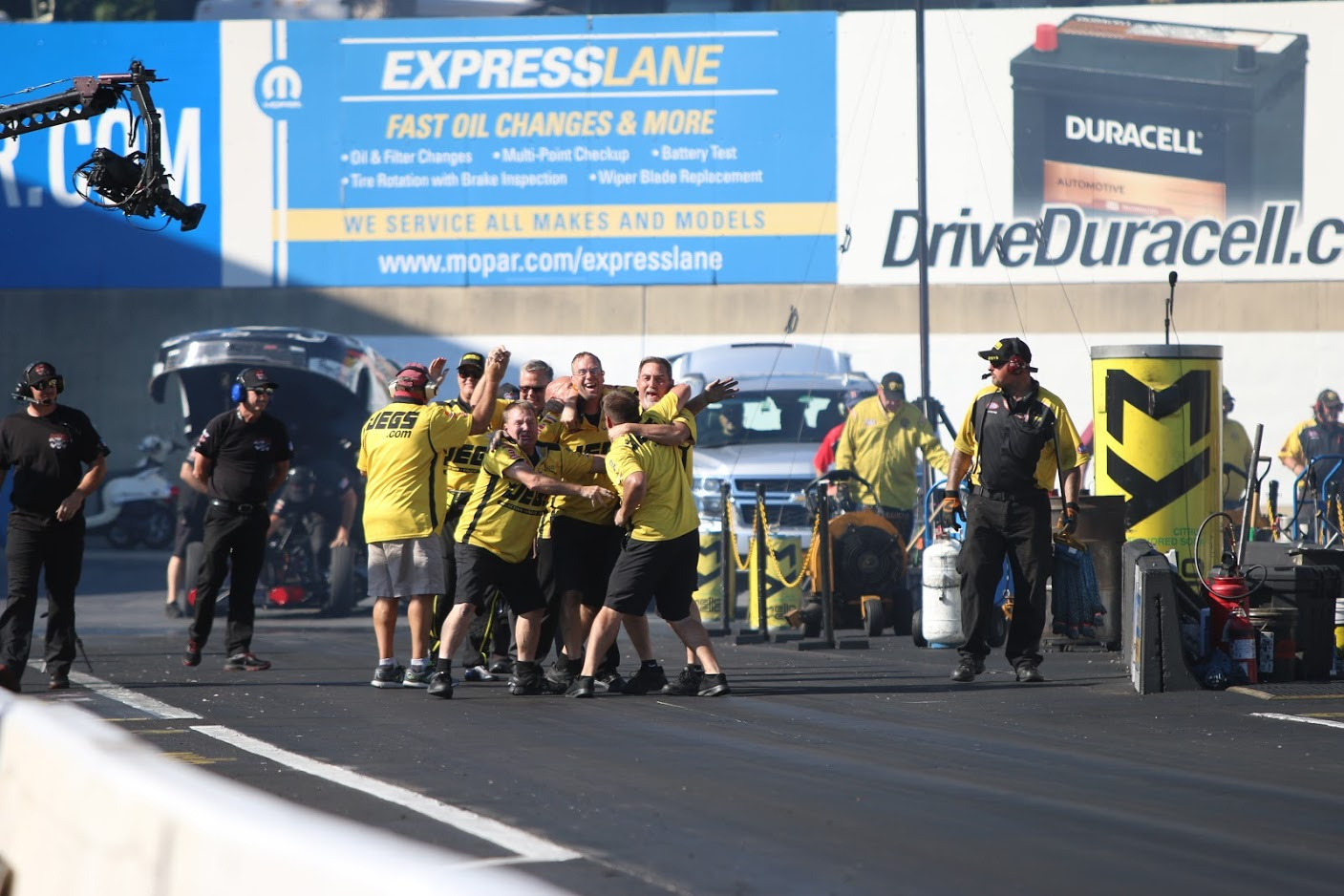 Phoenixville, Pennsylvania-based McPhillips Racing crew and JEGS.com staff celebrate Troy Coughlin Jr.'s Top Alcohol Dragster win at Maple Grove Raceway