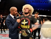 UFC fighter Khabib Nurmagomedov is interviewed after his submission win over Dustin Poirier