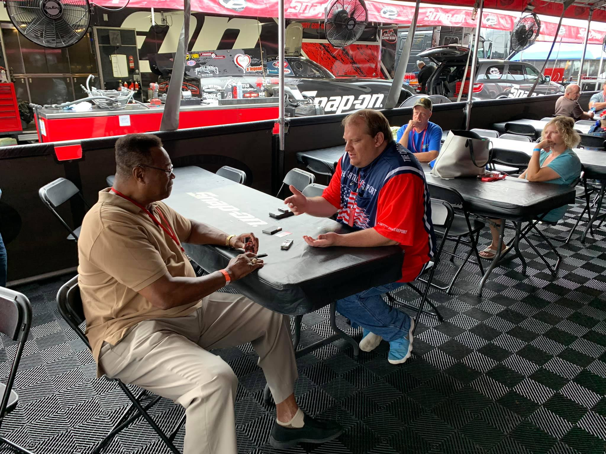 Boxing legend Larry Holmes being interviewed by our Publisher Anthony Caruso III
