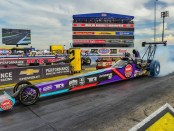 Randy Meyer Racing Top Alcohol Dragster driver Megan Meyer racing at the 2019 Chevrolet Performance U.S. Nationals