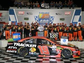 Joe Gibbs Racing driver Martin Truex Jr. in Victory Lane after winning the Federated Auto Parts 400