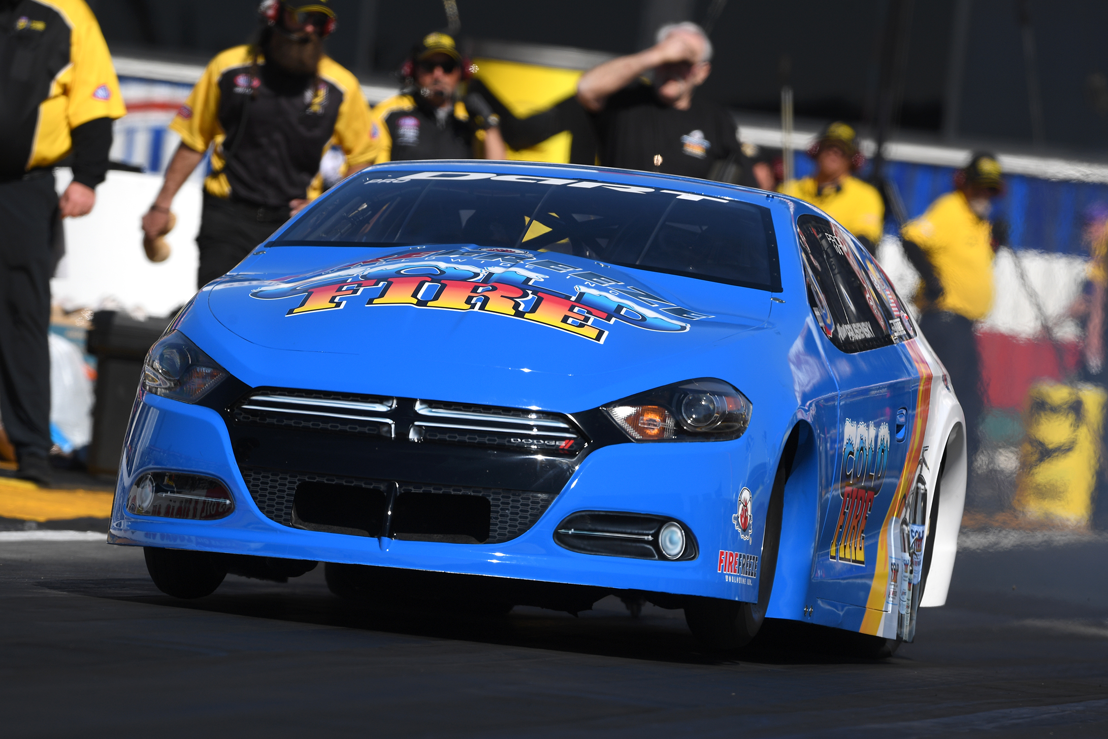 Cold Fire Pro Stock driver Alan Prusiensky driving in an undated NHRA national event