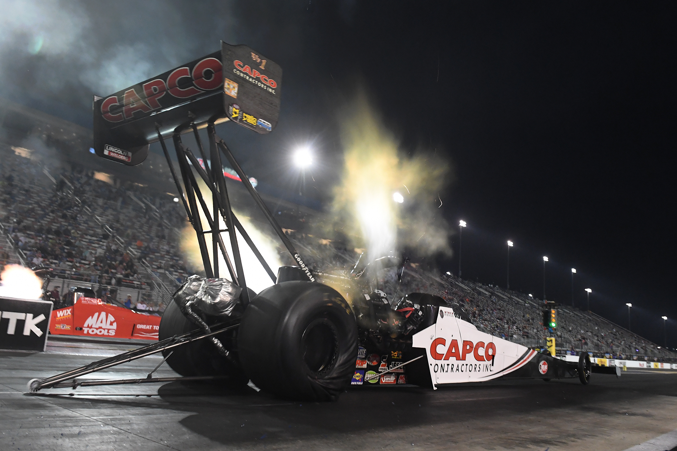Capco Contractors Top Fuel Dragster pilot Steve Torrence is the provisional No. 1 qualifier in Top Fuel at the 2019 NHRA Carolina Nationals