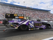 Infinite Hero Foundation Funny Car pilot Jack Beckman racing on Saturday at the NTK NHRA Carolina Nationals