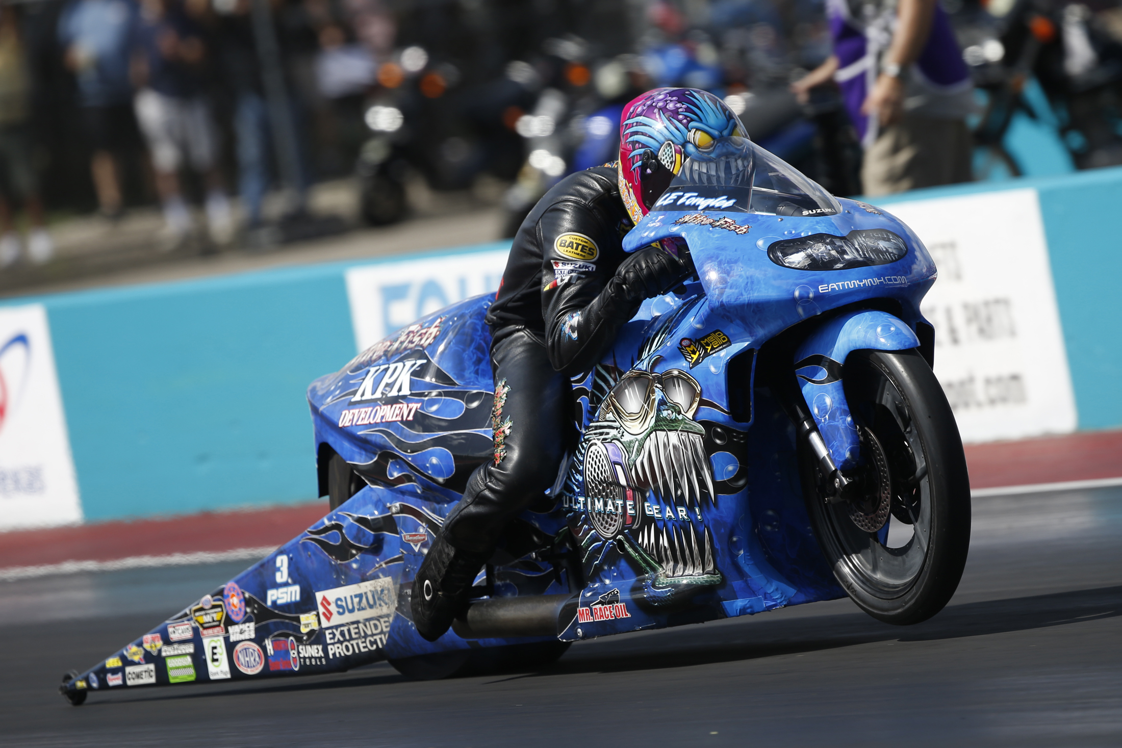 White Alligator Racing/Nitro Fish Pro Stock Motorcycle rider L.E. Tonglet racing on Sunday at the AAA Texas NHRA FallNationals