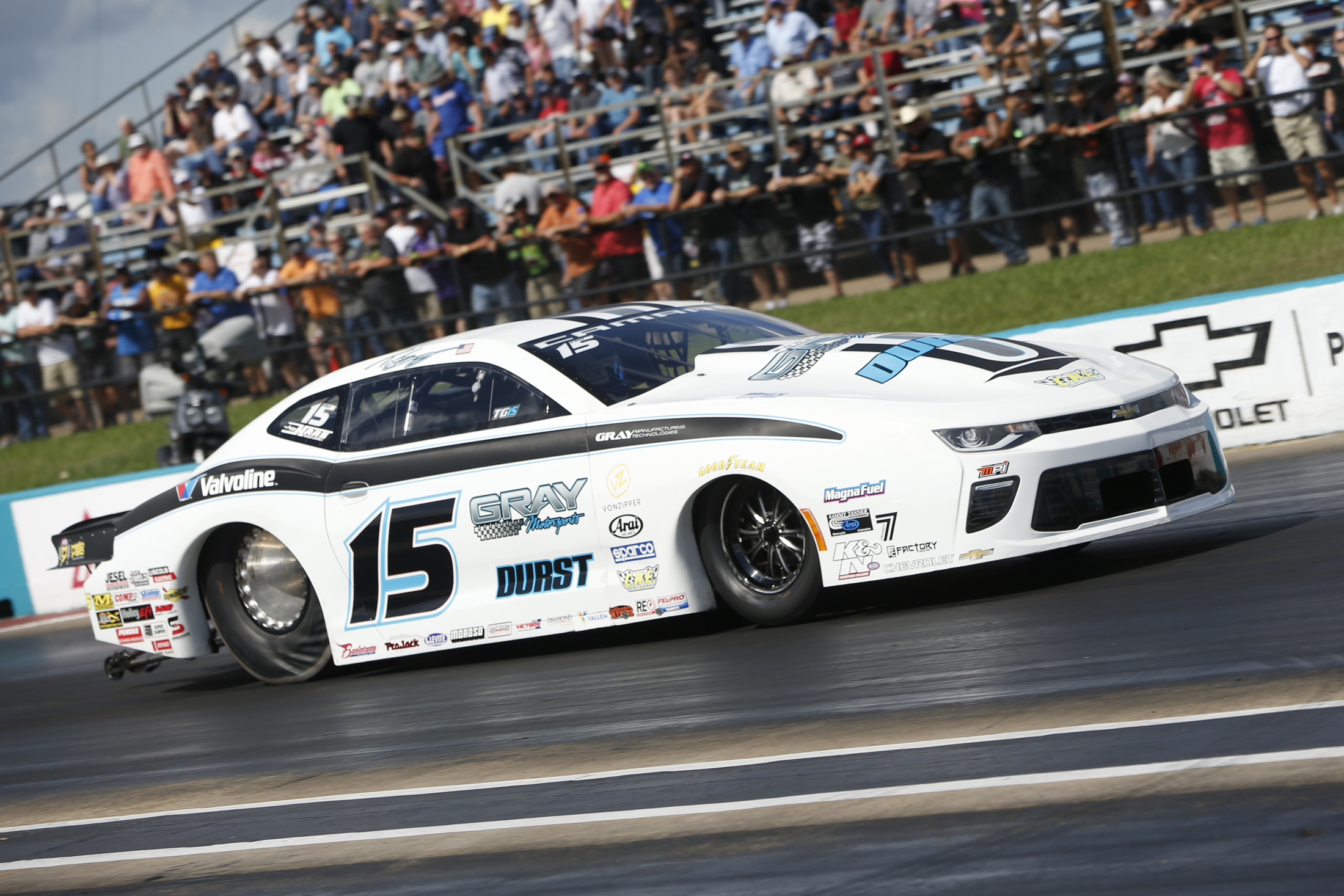 Former Gray Motorsports Pro Stock driver Tanner Gray racing on Sunday at the AAA Texas NHRA FallNationals