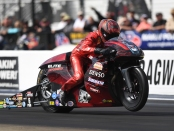 Elite Motorsports/Denso Pro Stock Motorcycle driver Matt Smith racing on Sunday at the NHRA Carolina Nationals