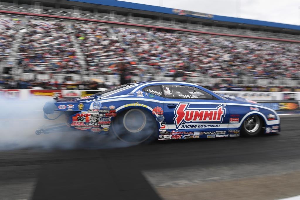 Summit Racing Equipment Pro Stock driver Jason Line racing on Sunday at the NHRA Carolina Nationals