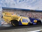 NAPA Auto Parts Funny Car pilot Ron Capps racing on Sunday at the NHRA Carolina Nationals