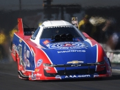 AAA sponsored Funny Car pilot Robert Hight racing on Monday at the NTK NHRA Carolina Nationals