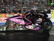 Denso sponsored Pro Stock Motorcycle rider Matt Smith is the provisional No. 1 qualifier at the AAA Texas NHRA FallNationals