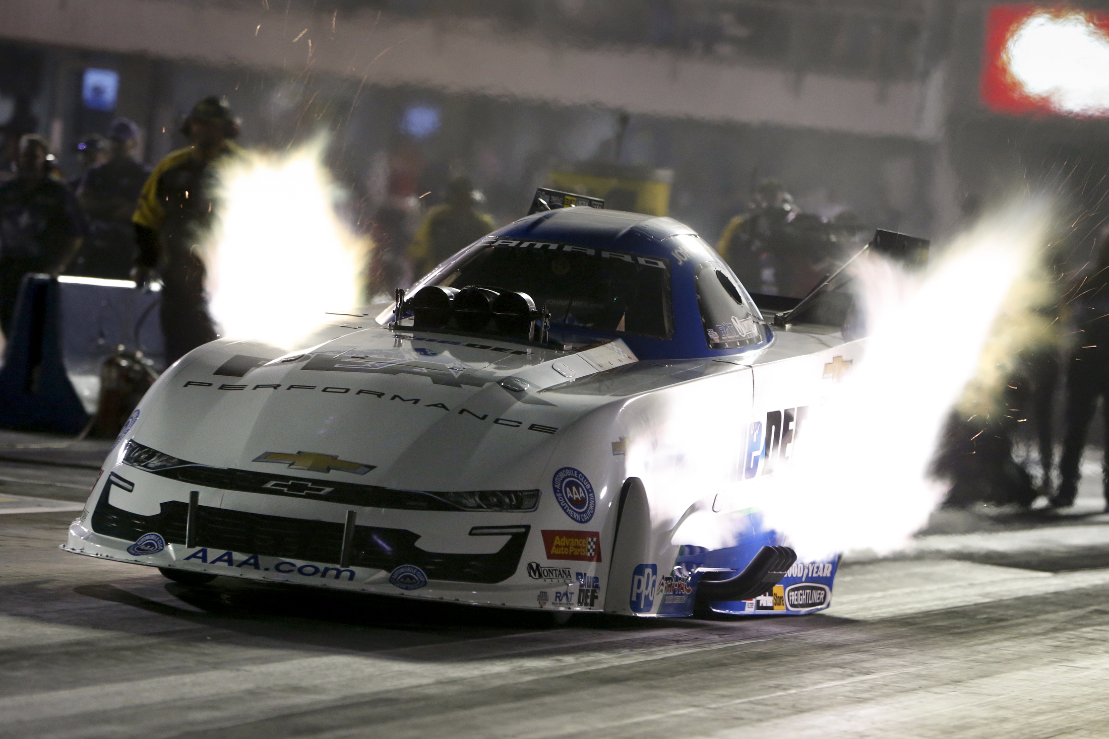 PEAK Antifreeze Funny Car pilot John Force is the provisional No. 1 qualifier at the AAA Texas NHRA FallNationals