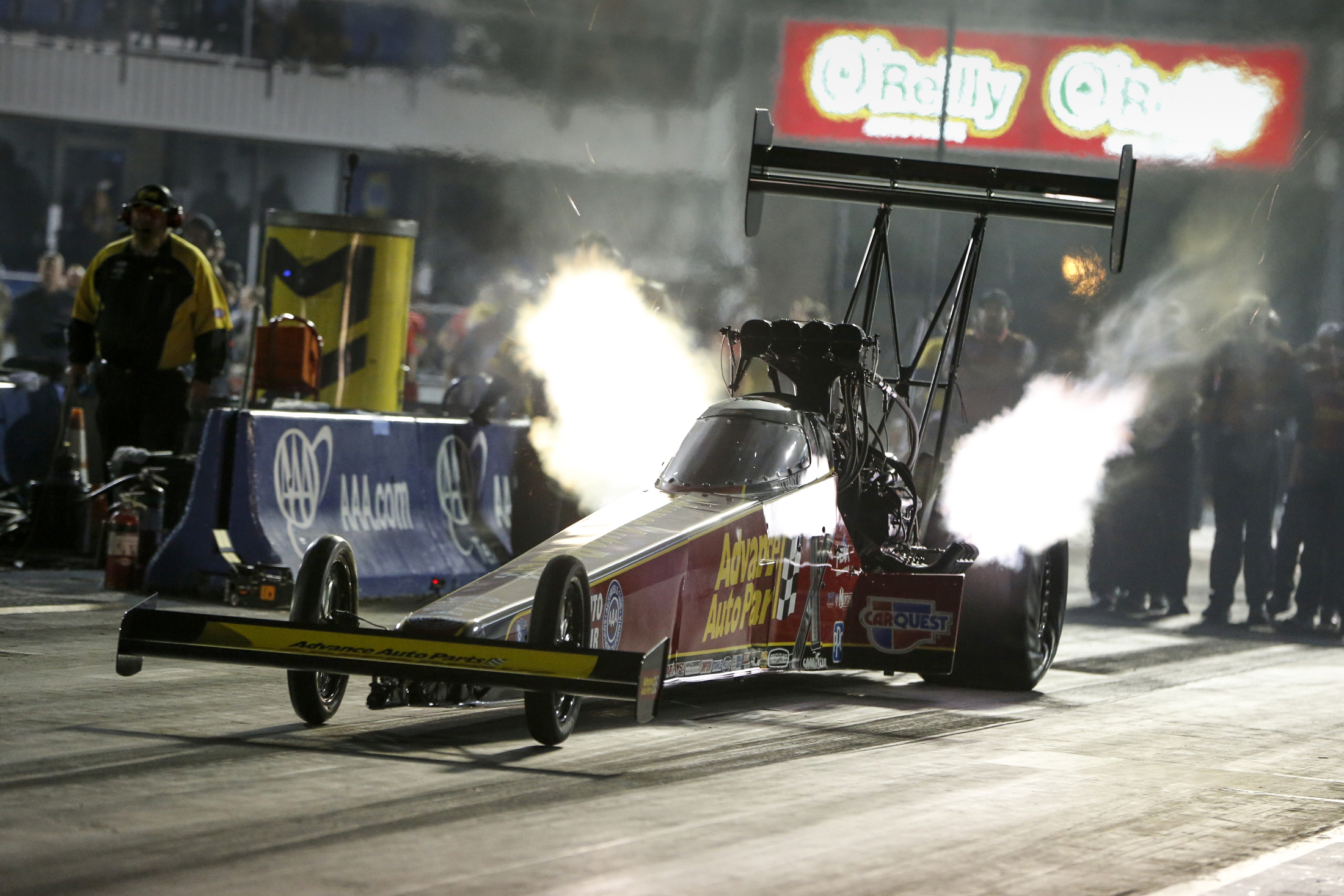 Advance Auto Parts Top Fuel Dragster pilot Brittany Force is the provisional No. 1 qualifier at the AAA Texas NHRA FallNationals