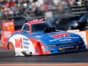 Western Technical College Funny Car pilot Matt Hagan racing on Sunday at the AAA Texas NHRA FallNationals