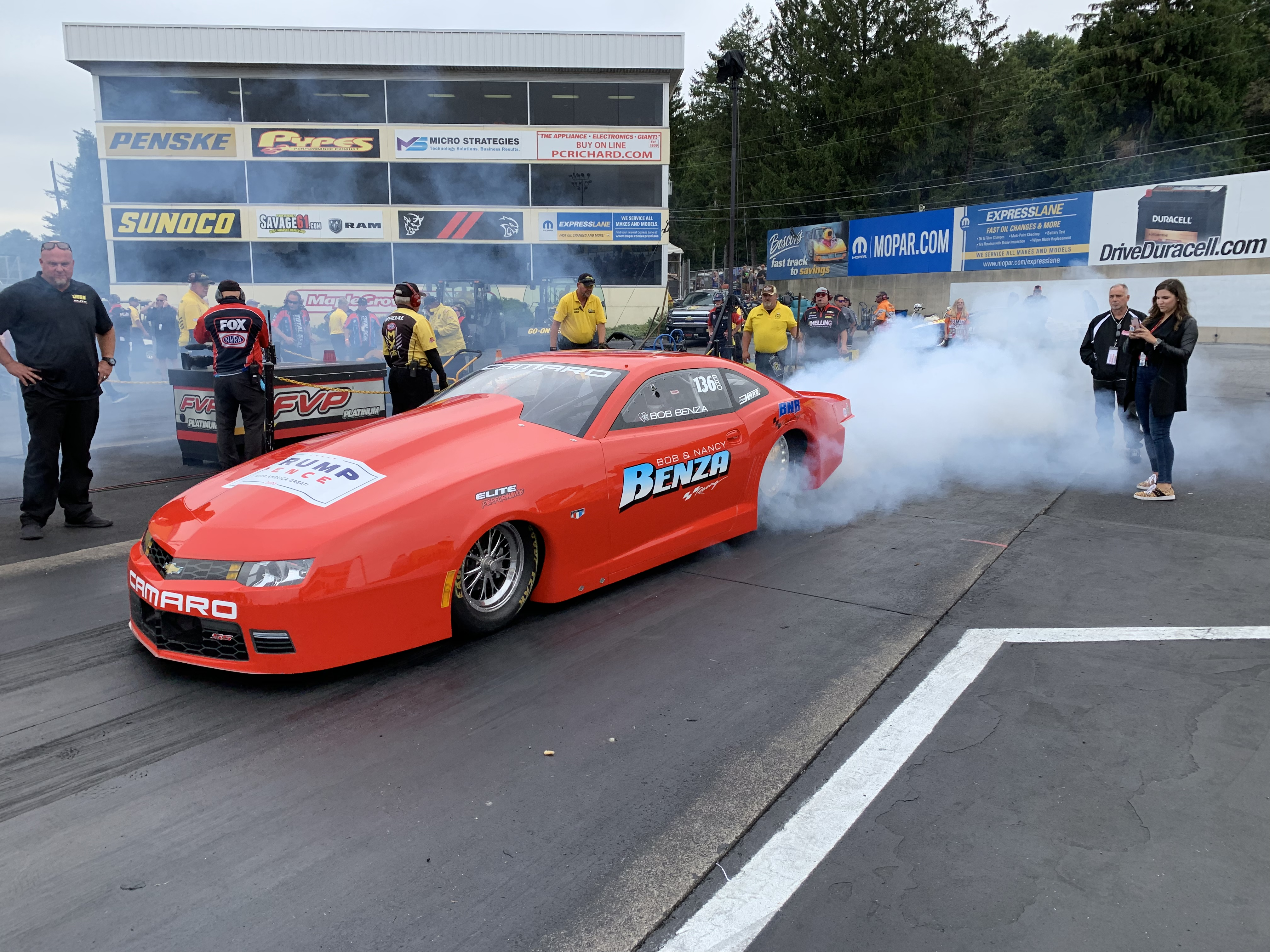 Pro Stock driver Bob Benza warming up his Pro Stock at the 2019 Mopar Express Lane NHRA Nationals presented by Pennzoil