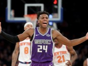 Sacramento Kings guard Buddy Hield reacts in the second half to a call against the New York Knicks