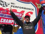Hussey Performance sponsored Bartone Brothers Racing driver Sean Bellemeur celebrates after winning 2019 Top Alcohol Funny Car Championship