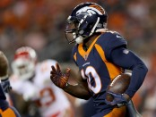 Former Denver Broncos wide receiver Emmanuel Sanders carries the ball after making a reception against the Kansas City Chiefs