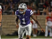 Kansas State Wildcats linebacker Eric Gallon II during a play against the Nicholls Colonels