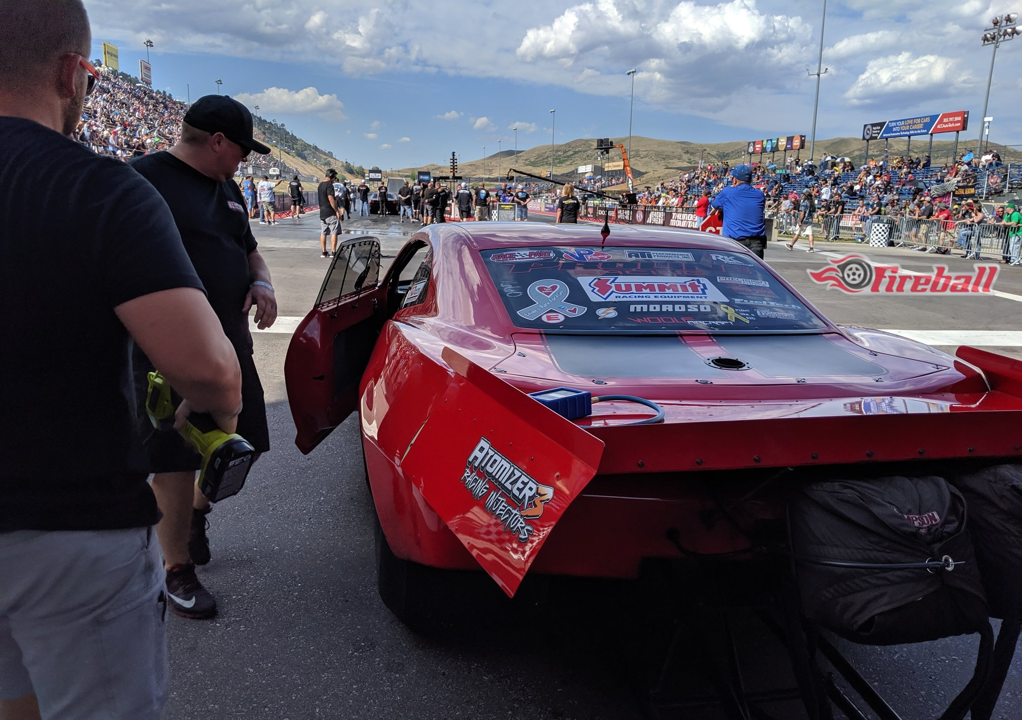 Fireball Camaro, driven by Ryan Martin, in the staging lane waiting to make a pass of the Street Outlaws No Prep Kings Season 3 event