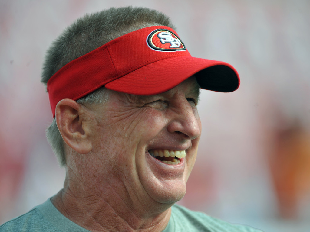 Former San Francisco 49ers linebackers coach Jim Leavitt watches warmups against the Tampa Bay Buccaneers