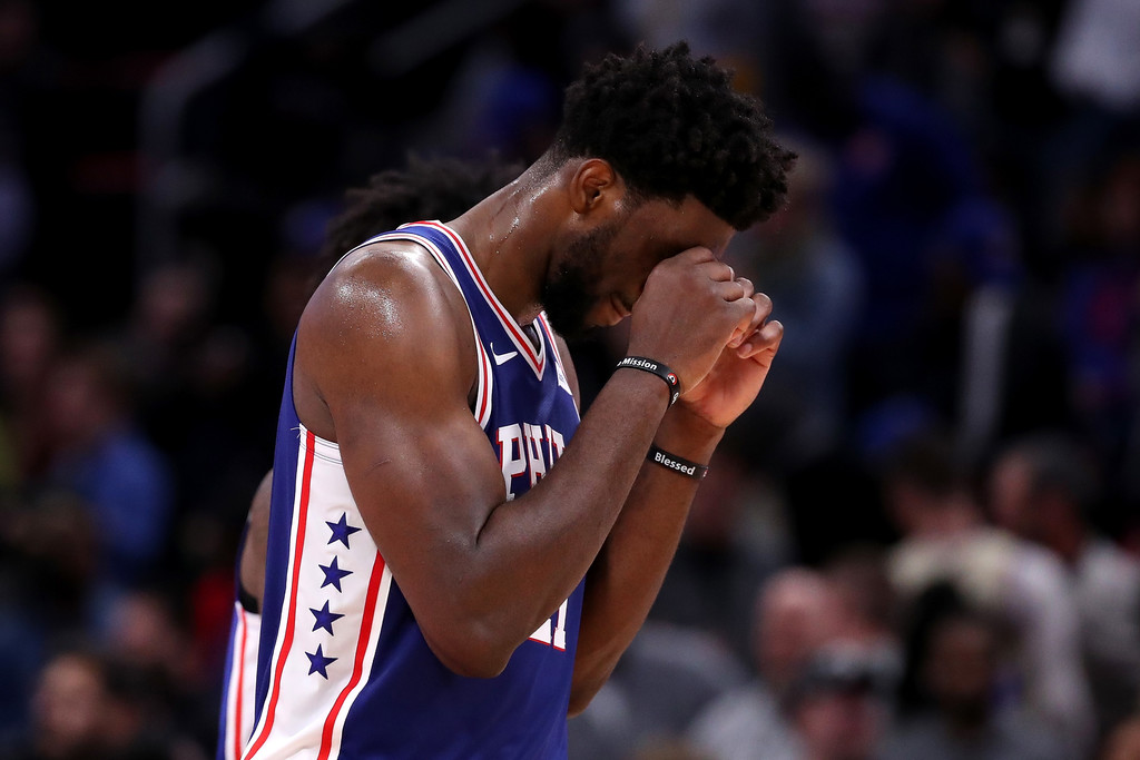 Philadelphia 76ers center Joel Embiid reacts to a call against the Detroit Pistons