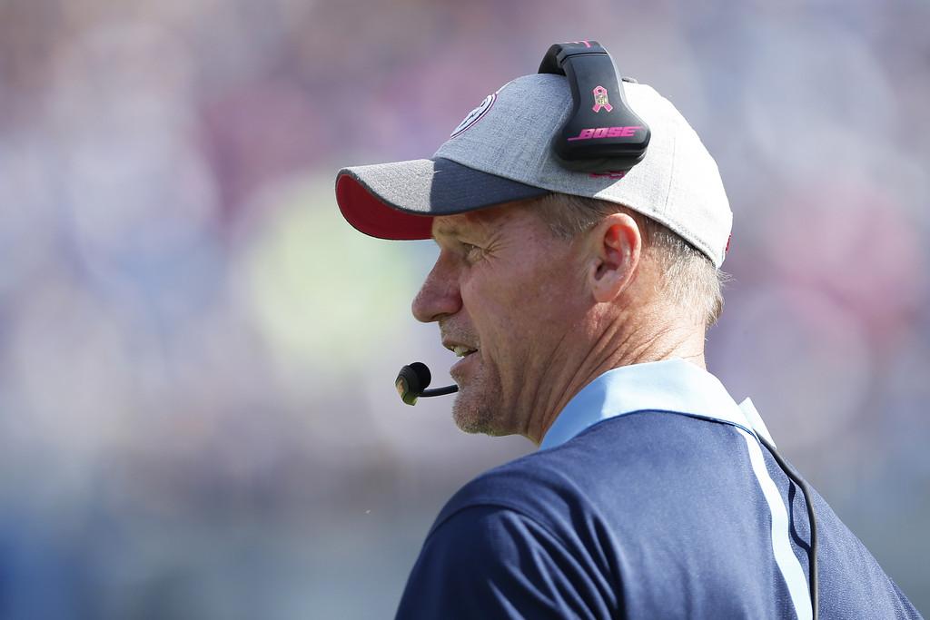 Former Tennessee Titans head coach Ken Whisenhunt looks on against the Buffalo Bills