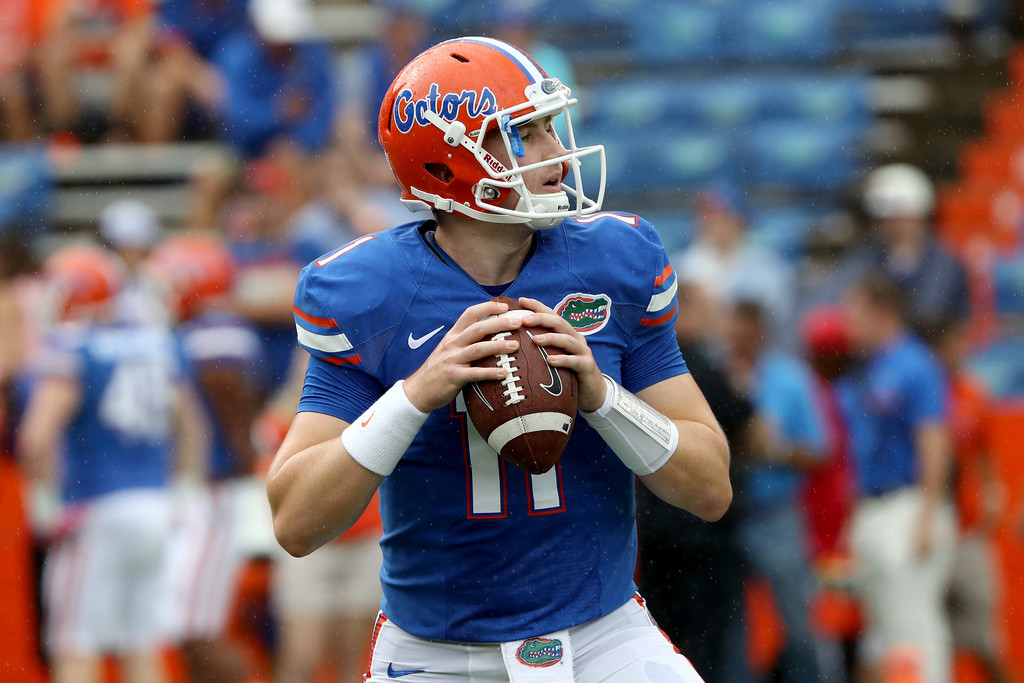 Florida Gators quarterback Kyle Trask warms up before the game against the Missouri Tigers
