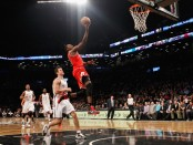 Former Chicago Bulls player Luol Deng goes to the basket against the Brooklyn Nets in Game two of their 2013 Eastern Conference NBA Playoff game