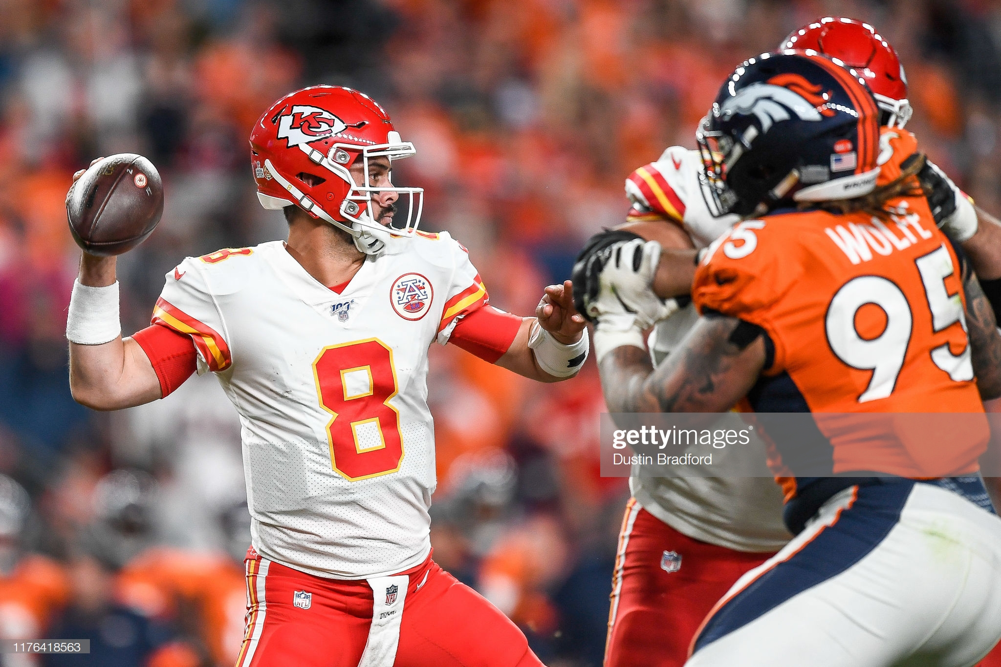 Kansas City Chiefs quarterback Matt Moore passes the football against the Denver Broncos