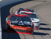 Former NASCAR Xfinity Series driver Matt Tifft leads the pack of cars during the Kansas Lottery 300