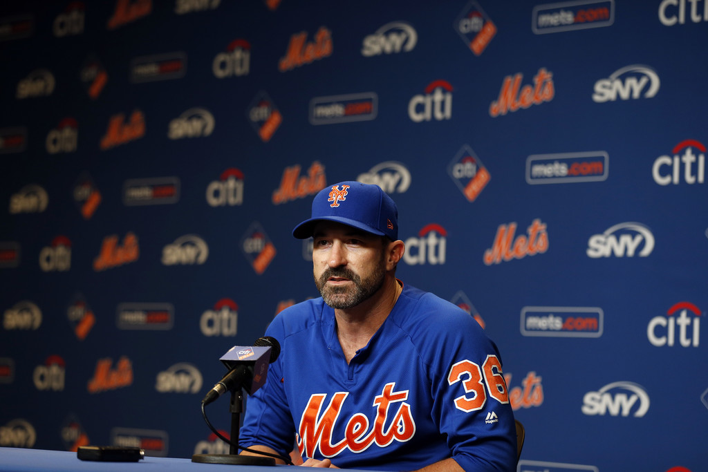Former New York Mets manager Mickey Callaway speaks with the media before a game against the Miami Marlins