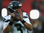 Seattle Seahawks quarterback Russell Wilson is practicing ahead of his NFL International Series game against the Oakland Raiders