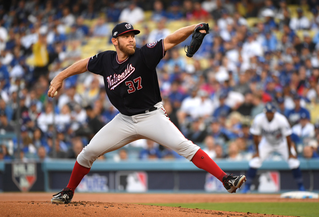 Washington Nationals pitcher Stephen Strasburg delivers a pitch against the Los Angeles Dodgers in the 2019 National League Division Series