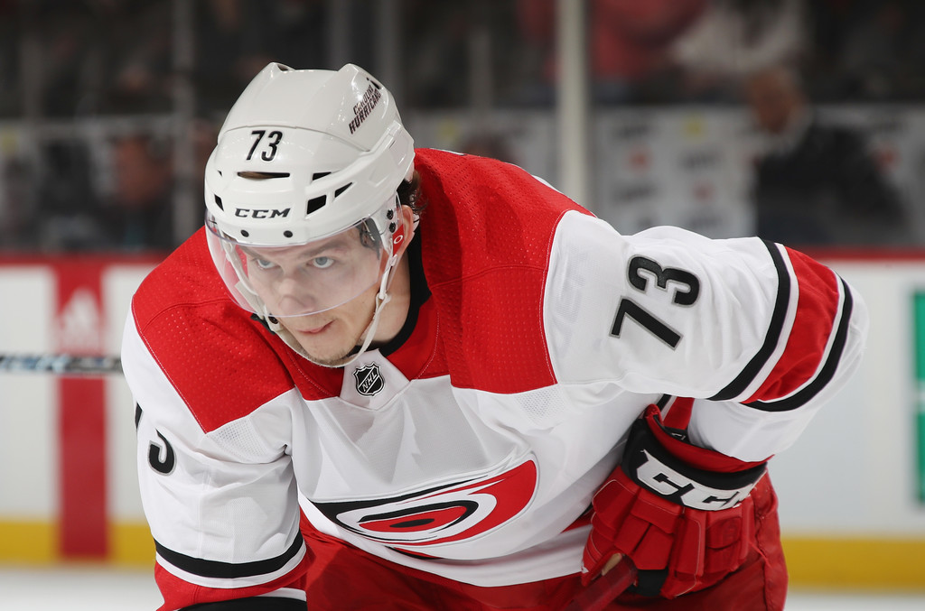 Former Carolina Hurricanes winger Valentin Zykov skates against the New Jersey Devils