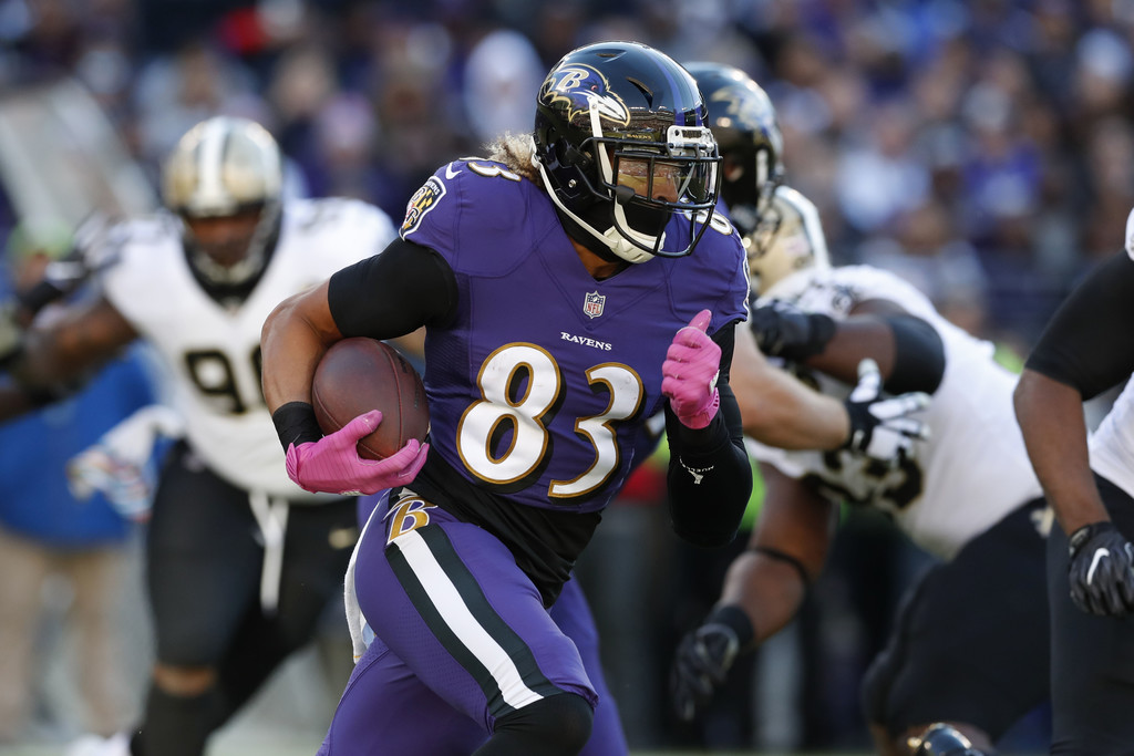Baltimore Ravens wide receiver Willie Snead VI runs with the ball after making a reception against the New Orleans Saints