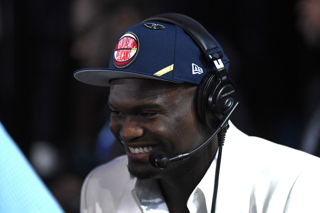 Zion Williamson, the first pick in the 2019 NBA Draft by the New Orleans Pelicans, talks to the media during the draft